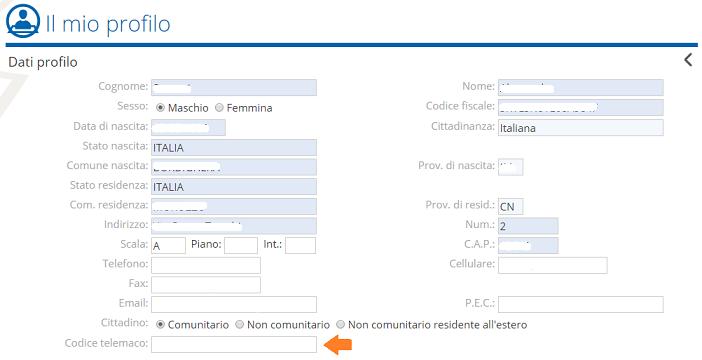 Memorizzazione codice utente Telemaco