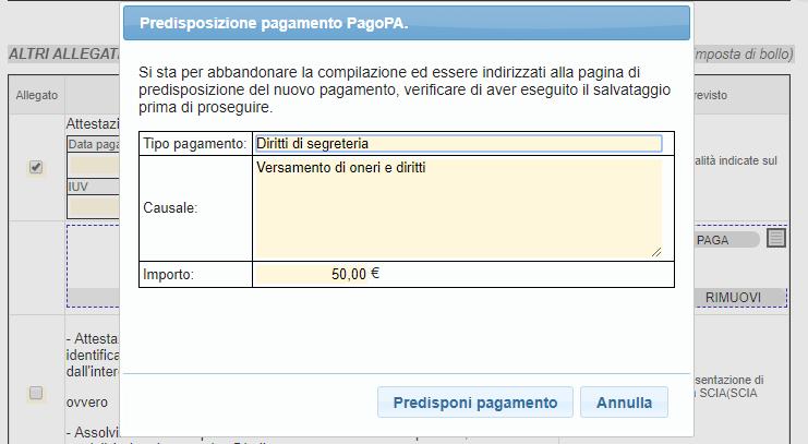 Finestra informazioni pagamento