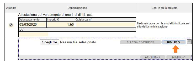 Pulsante Rim. Pag.: rimuovi pagamento