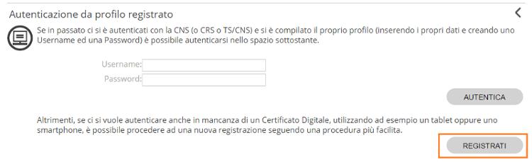 Autenticazione Registrati