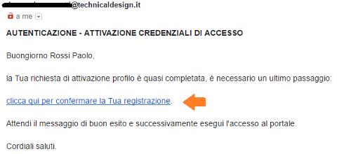 Autenticazione Email registrazione
