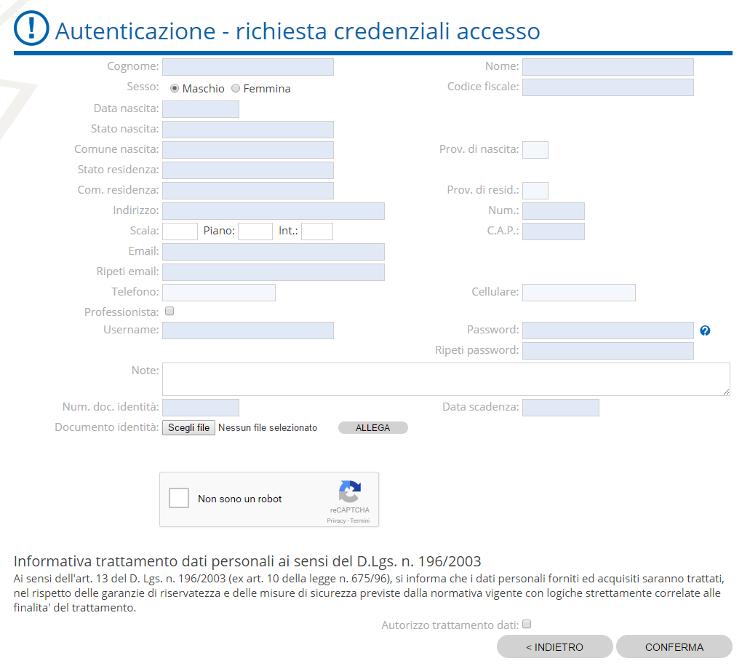 Autenticazione Form registrazione